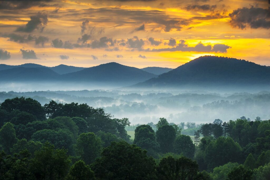 Sunset In the Mountains of Carolinas