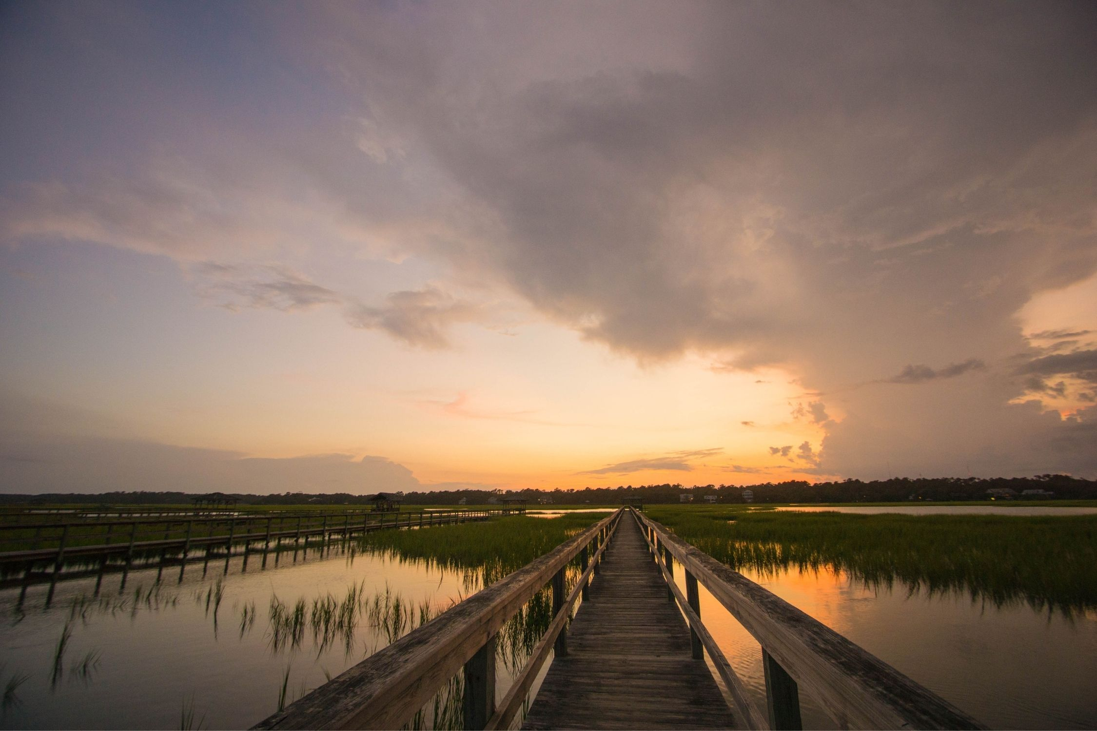 Sunset over the dock in Pawleys Island