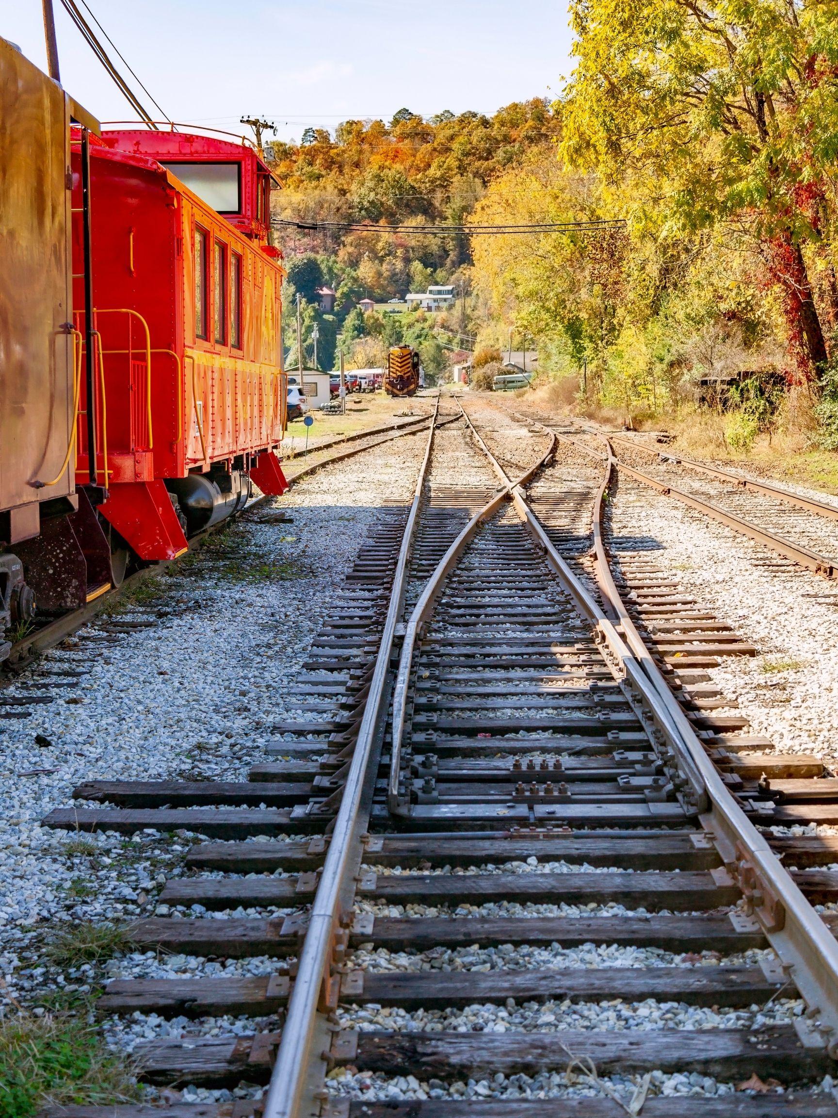 Train tracks in Bryson City a small town in North Carolina