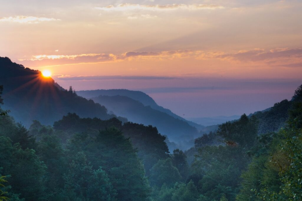 Sunset In Mountains Near Saluda One of Many Small towns in North Carolina