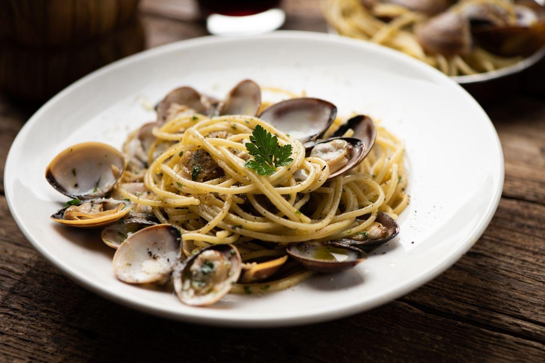 Italian food clams and linguine