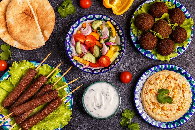 Lebanese Food, Kofta, Hummus, Falafel, Salad